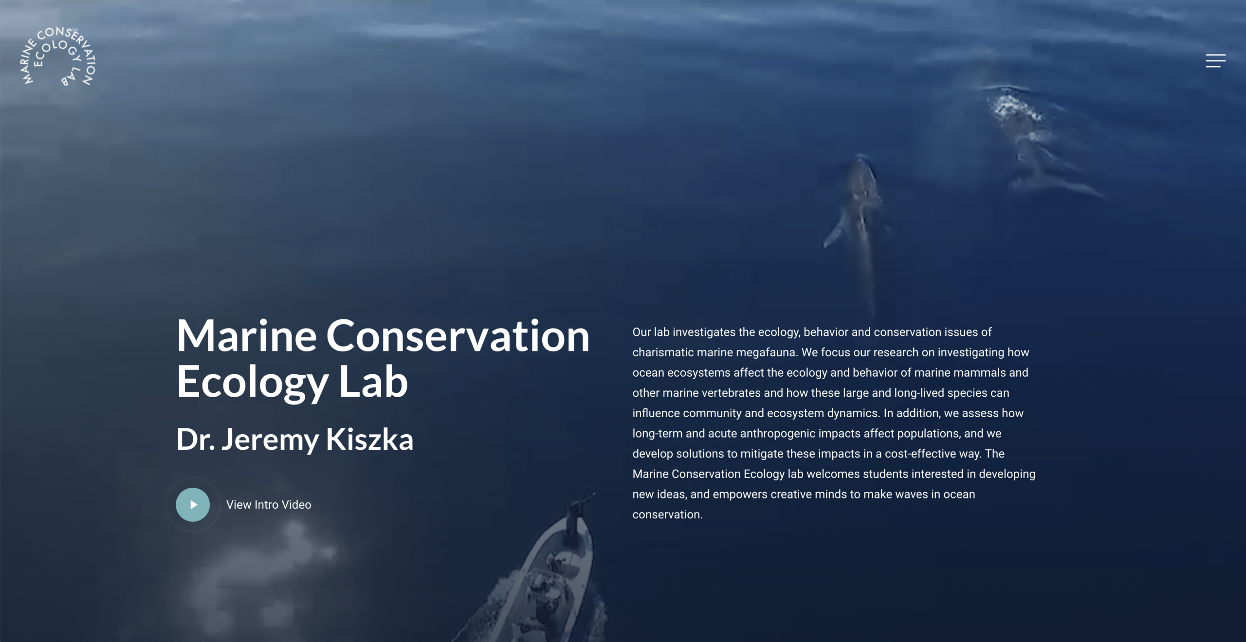 Website for the Marine Conservation Ecology Lab